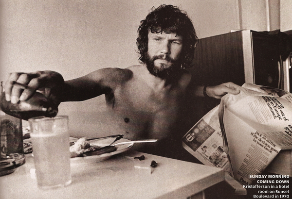 A young Kris Kristofferson pours a beer at the breakfast table.
