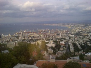 A view of Downtown and Haifa bay from the top of Mount Carmel.