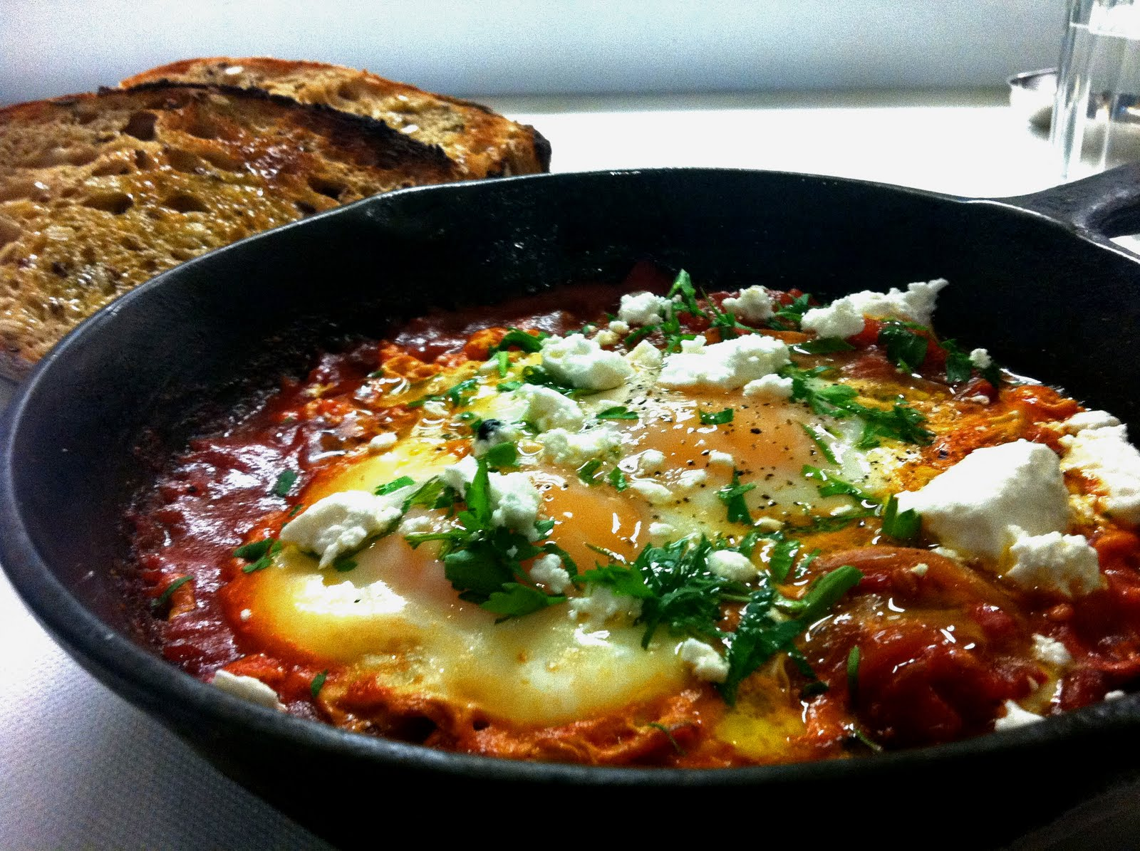 Shakshouka with feta in a skillet