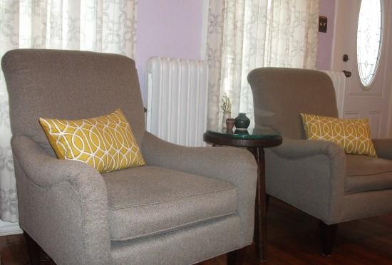 herringbone armchairs