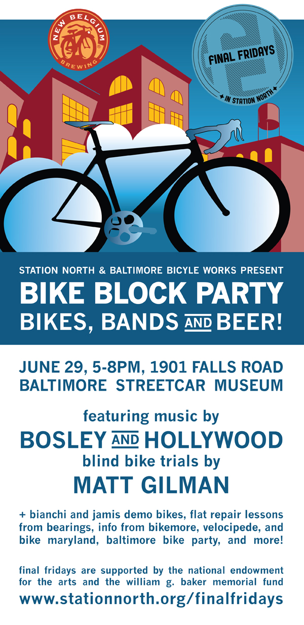 JuneFF invitation web Bike Block Party @ Baltimore Streetcar Museum Today