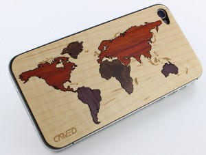 world map 1 Carveds Natural Wood iPhone Skins: The Chop Approves