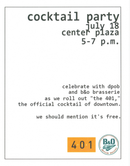 401cocktail e1342293023856 Free Happy Hour @ Center Plaza Today