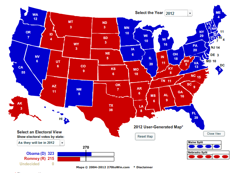Electoral College 2012 Election Predictions