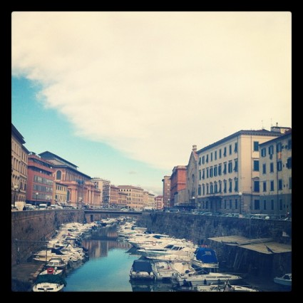 One of many canals in Livorno, Italy.