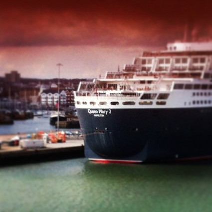 The Queen Mary II docked in Southampton, England.