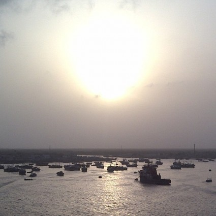 Fishing boats in Karachi, Pakistan.