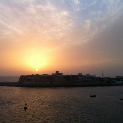 Sunset in Karachi, Pakistan.