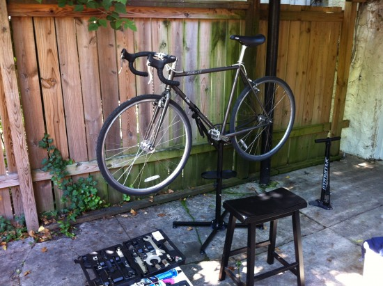 The Chop's bike, ready for maintenance.