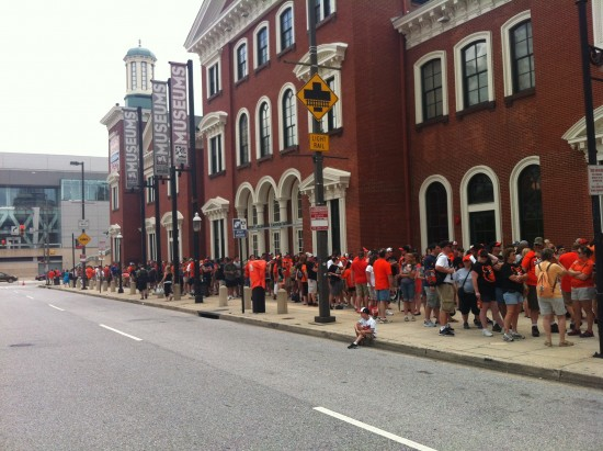A sell-out crowd lined up incredibly early for Adam Jones replica jersey day.
