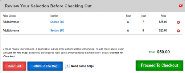 View your tickets and proceed with your order. 'Row A' signifies drink rail.
