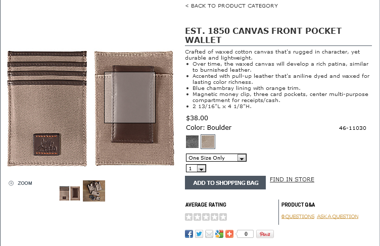 CANVAS FRONT POCKET WALLET Boulder