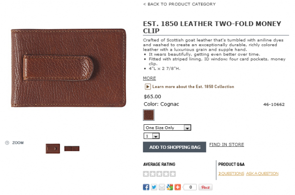 WO-FOLD MONEY CLIP Cognac