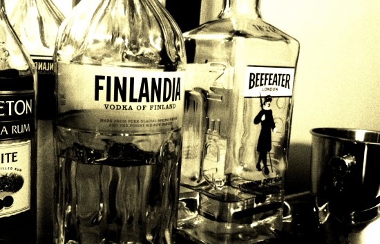 A bottle of non-russain vodka on the Chop's home bar.