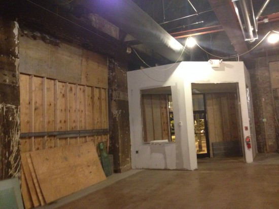 A new entryway vestibule under construction.