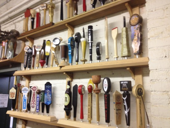The shop keeps a small museum of its tap handles.
