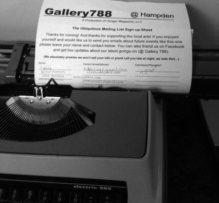 Gallery 788's mailing list signup.