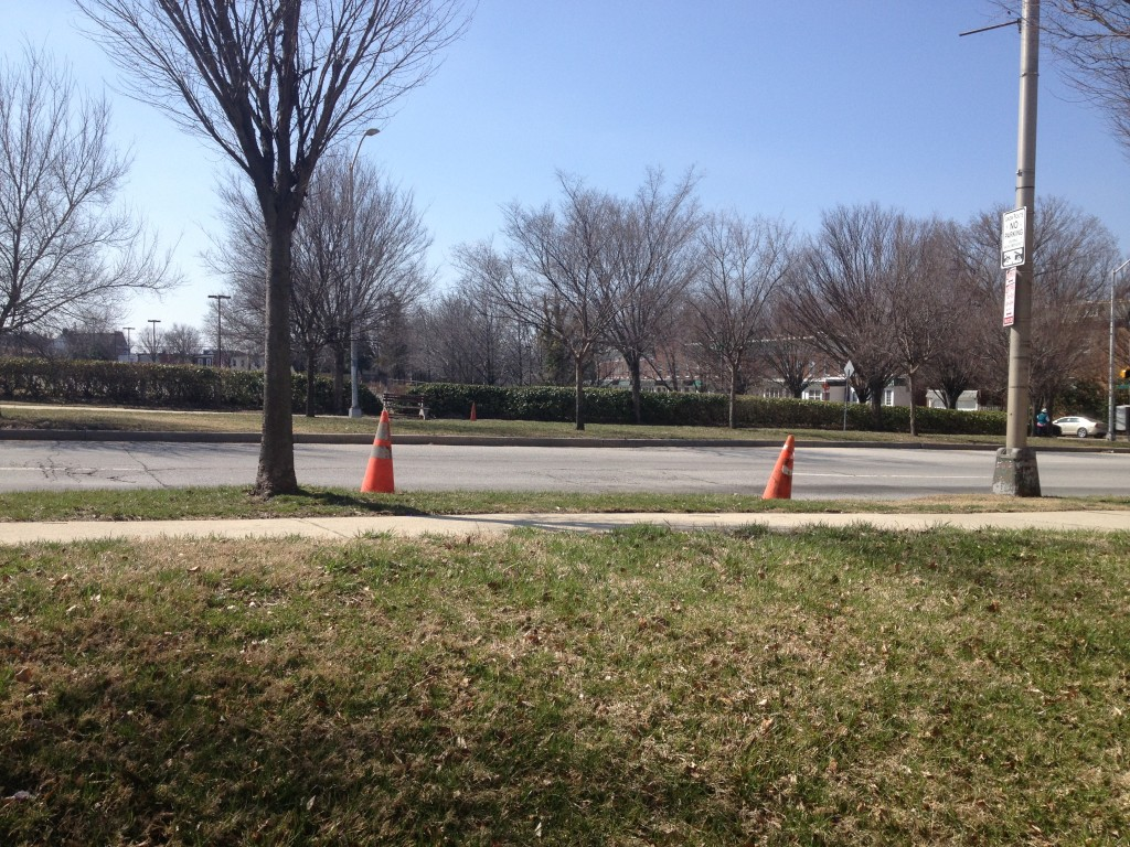 Cones on either side of 33rd Street.