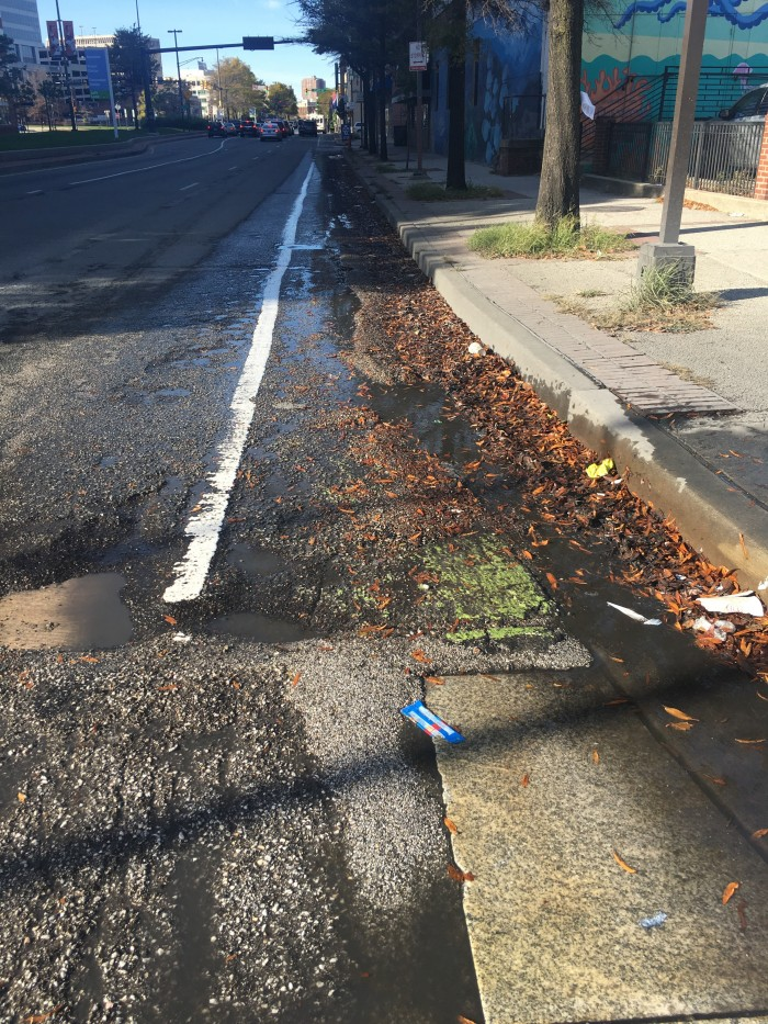 This is the state of the bike lane on President street, between two bike share stations. This was brand new just a couple years ago. Now, standing water, litter, potholes, leaves dirt and gravel. It did not occur to the city to improve this before introducing bike share.