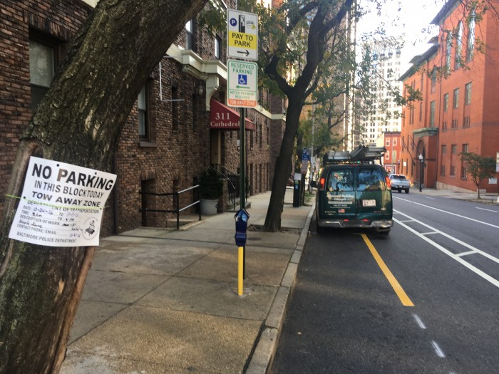 Another dick parked in another bike lane. He knows he's doing wrong, but the city should demarcate this better. It looks as much like a parking lane as it does a bike lane. They also need to get rid of the meters and legal parking signs like yesterday. The little paper no parking sign is clearly ineffective.
